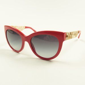 Dolce & Gabbana Red Gold Floral Sunglasses